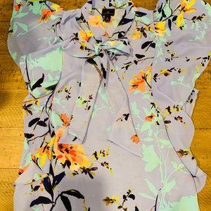 Floral Worthington Blouse with Necktie